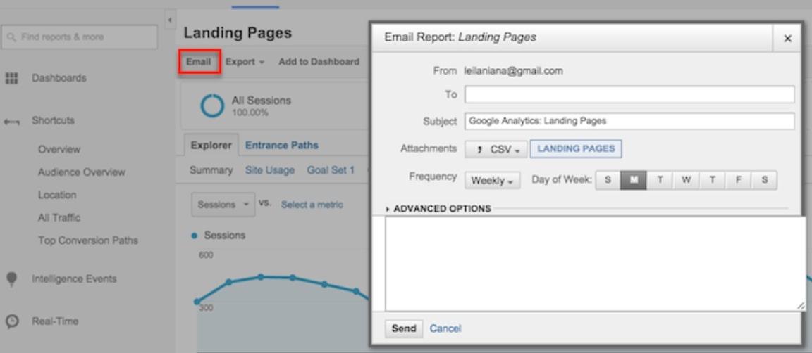 sử dụng nút Email để Google Analytic gửi email
