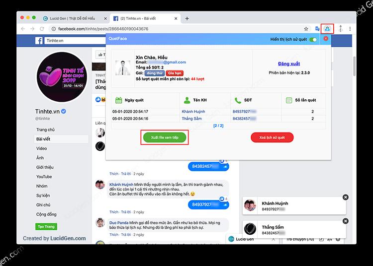 Lấy tìm số điện thoại từ trên Facebook & Lấy tìm SĐT trên Facebook - Xem lịch sử quét SĐT Facebook