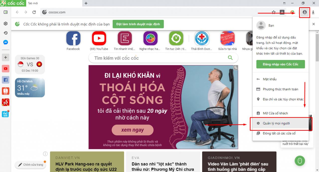 Hướng dẫn tạo nhiều trình duyệt Google Chrome, Cốc Cốc để đăng nhập nhiều nick Facebook, Zalo trên máy tính