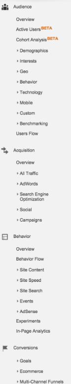 các loại báo cáo trong google analytics
