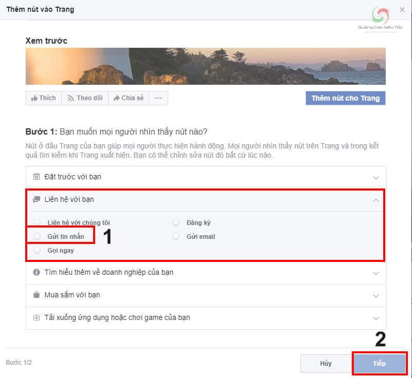 Nhấp vào tùy chọn thêm nút Gửi Tin Nhắn trên Fanpage