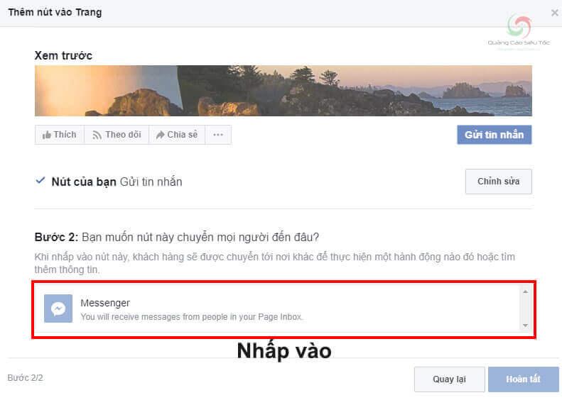Nhấp vào tùy chọn Messenger