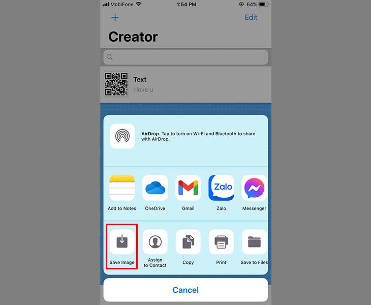 Lưu mã QR hoặc gửi qua ứng dụng tin nhắn