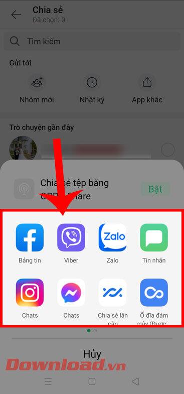 <p><strong>Bước 5: Chọn ứng dụng khác</strong> như:<em> Facebook, Viber, Instagram</em> mà bạn muốn