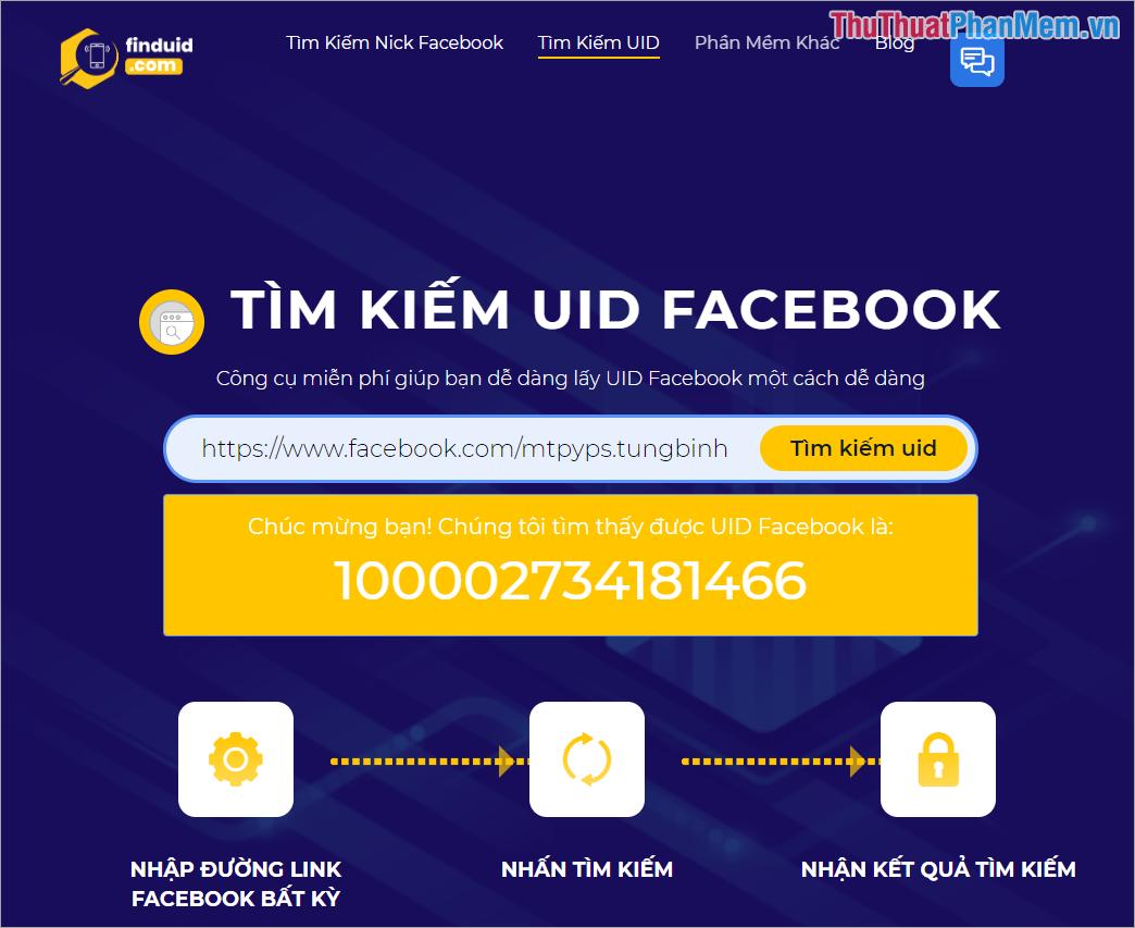 Công cụ này cũng hỗ trợ lấy địa chỉ ID của người sử dụng Facebook
