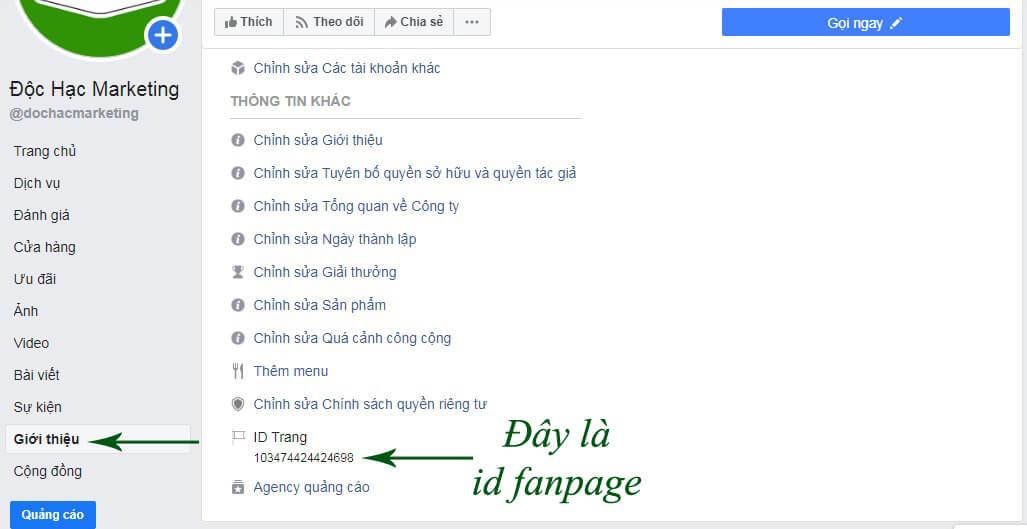 lấy id fanpage facebook