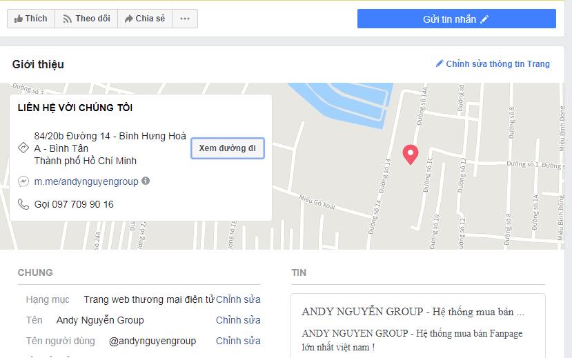 thêm bản đồ vào fanpage facebook giúp fanpage uy tín hơn