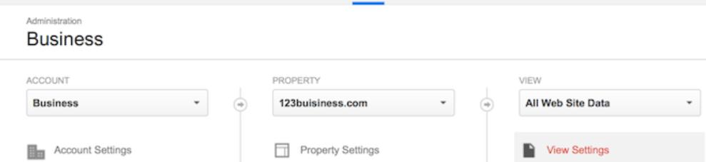 Menu Admin trong tài khoản Google Analytics