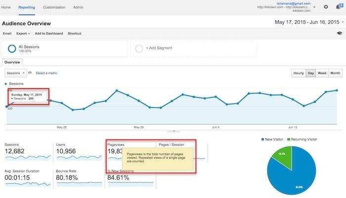 rê chuột qua nhiều khu vực trên báo cáo của Google Analytics để biết thêm nhiều thông tin