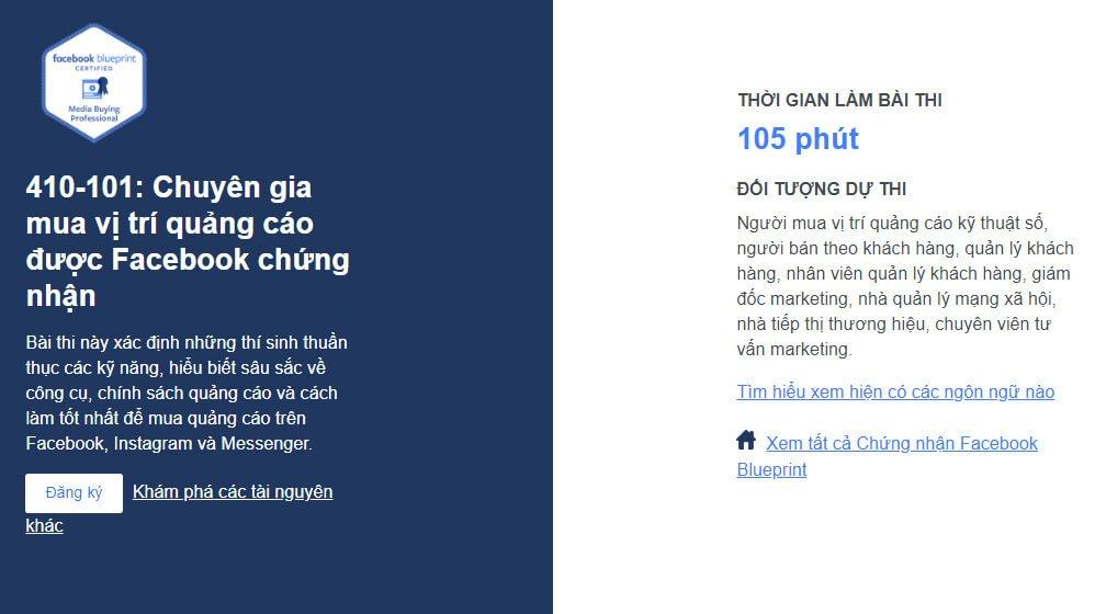 Chứng nhận chuyên gia mua quảng cáo Facebook Blueprint là gì