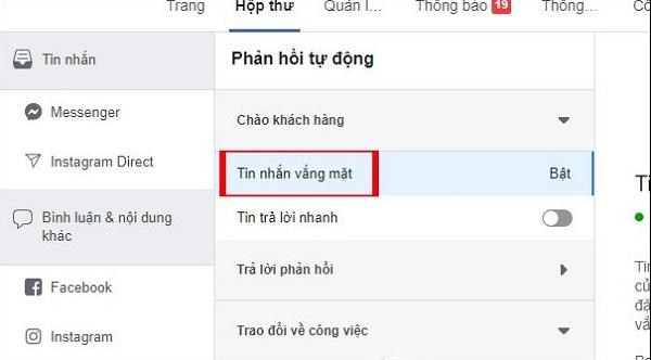 Huong dan thiet lap tu dong tra loi tin nhan tren fanpage facebook 02