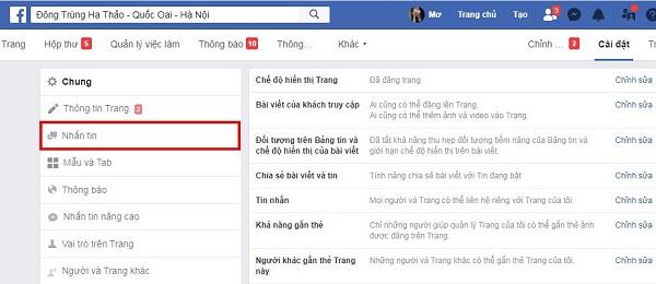 Huong dan thiet lap tu dong tra loi tin nhan tren fanpage facebook 2