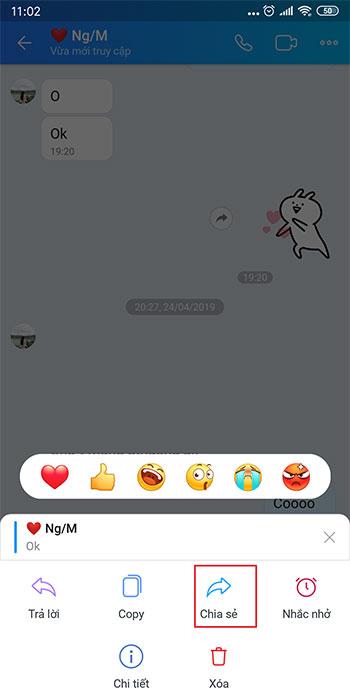 Hướng dẫn chuyển tiếp tin nhắn trên Zalo