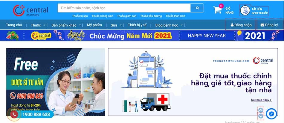 Giao diện trang chủ website trungtamthuoc.com