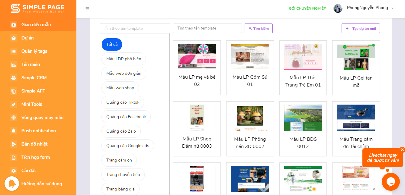 Giao diện landing page