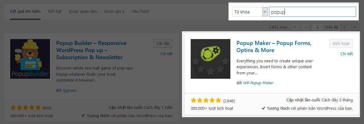 plugin popup cho wordpress