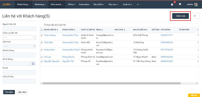 Thêm mới khách hàng phần mềm CRMVIET