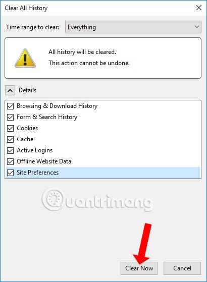 Xóa dữ liệu web Firefox