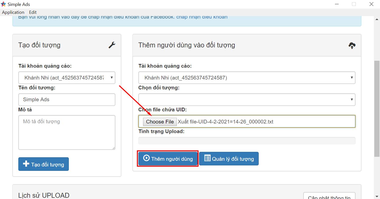 Upload tệp UID và bấm thêm người dùng